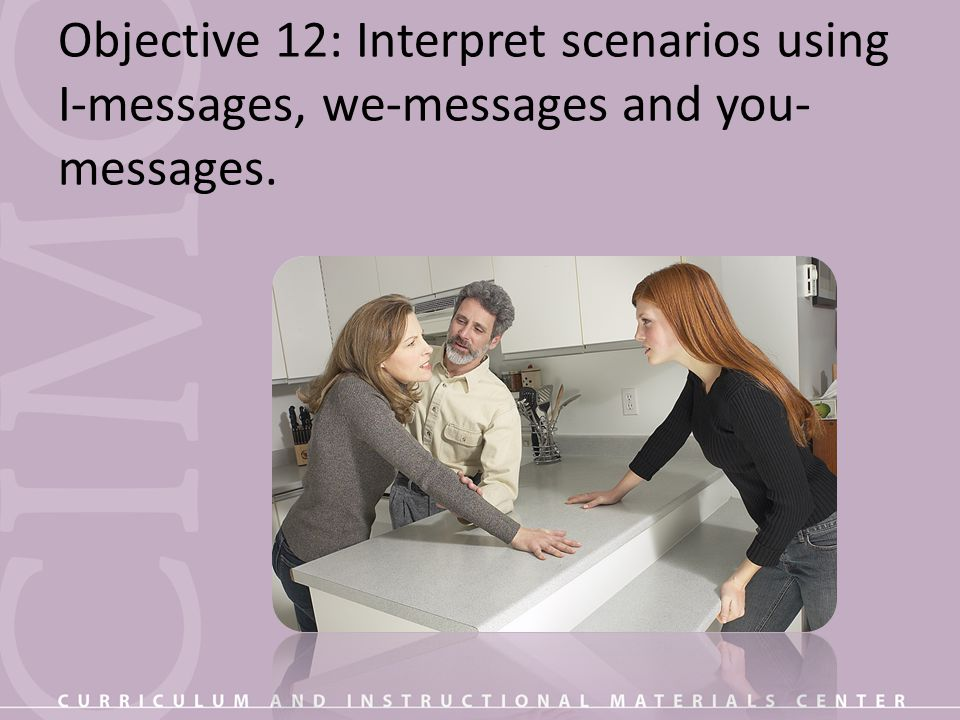 Objective 12: Interpret scenarios using I-messages, we-messages and you- messages.