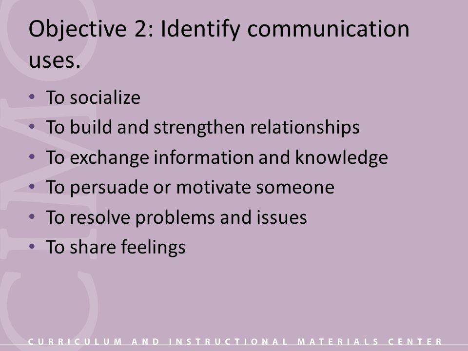 Objective 2: Identify communication uses.