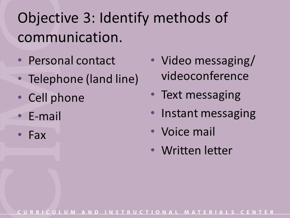 Objective 3: Identify methods of communication.