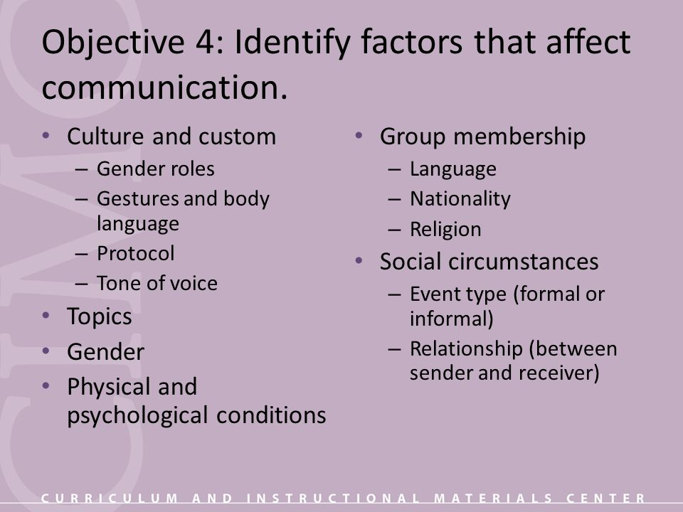 Objective 4: Identify factors that affect communication.