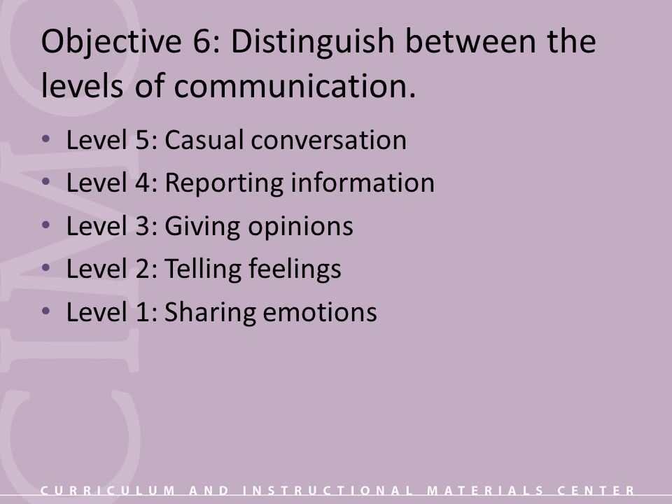 Objective 6: Distinguish between the levels of communication.