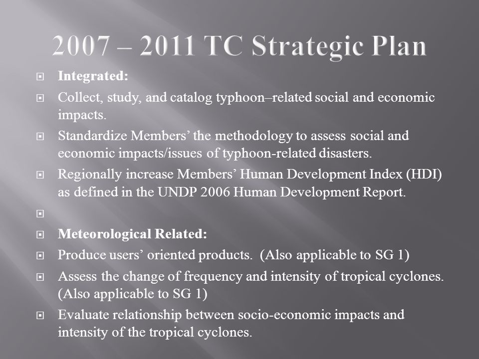  Integrated:  Collect, study, and catalog typhoon–related social and economic impacts.
