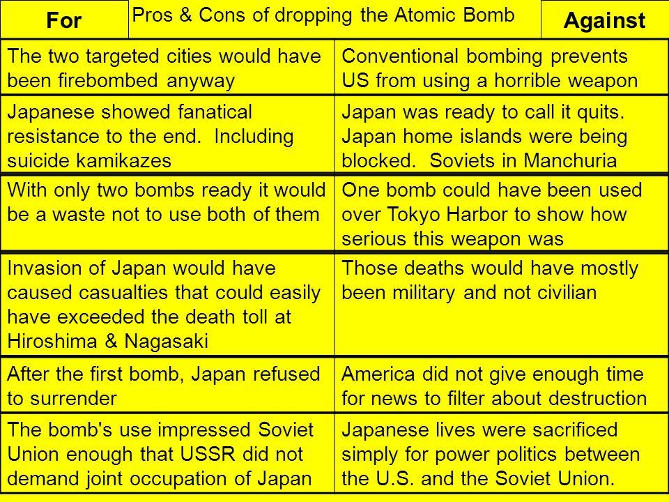 pros of atomic bomb