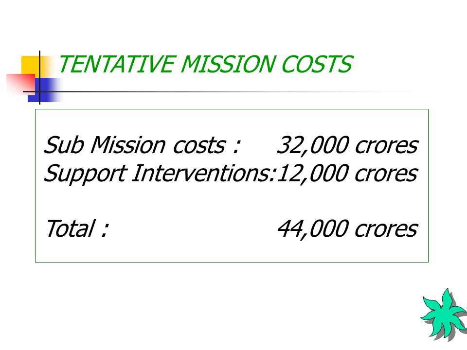 TENTATIVE MISSION COSTS Sub Mission costs : 32,000 crores Support Interventions:12,000 crores Total : 44,000 crores