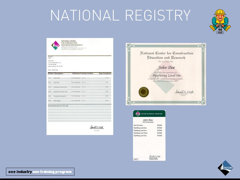 one industry one training program NATIONAL REGISTRY