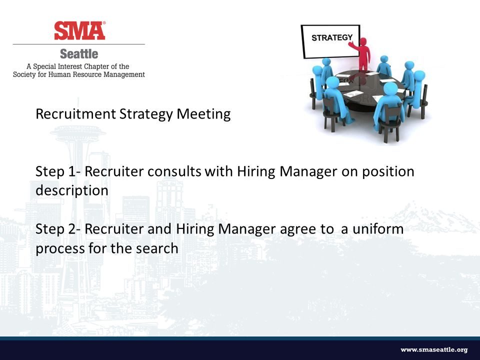 Recruitment Strategy Meeting Step 1- Recruiter consults with Hiring Manager on position description Step 2- Recruiter and Hiring Manager agree to a uniform process for the search