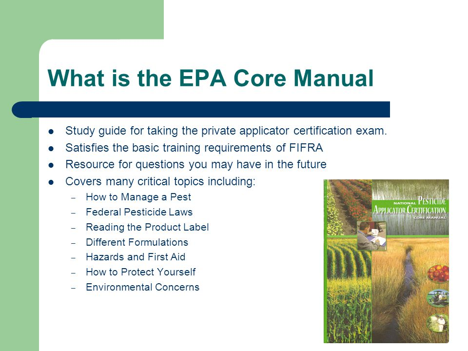 How To Use The Epa Core Manual Pesticide Safety Education Program