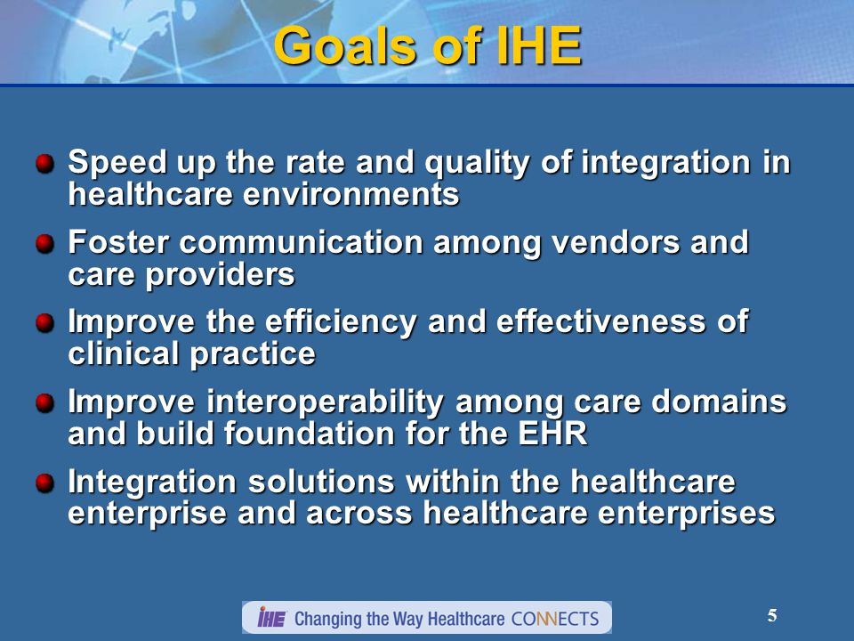 5 Goals of IHE Speed up the rate and quality of integration in healthcare environments Foster communication among vendors and care providers Improve the efficiency and effectiveness of clinical practice Improve interoperability among care domains and build foundation for the EHR Integration solutions within the healthcare enterprise and across healthcare enterprises