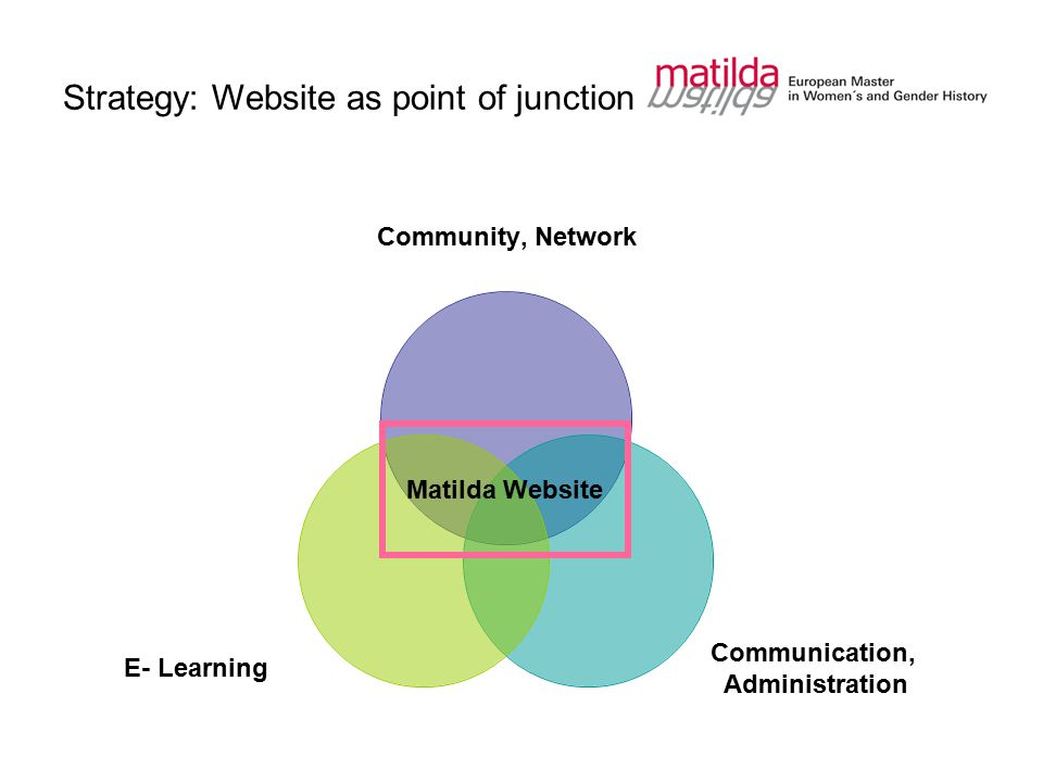 Strategy: Website as point of junction Community, Network Communication, Administration E- Learning Matilda Website
