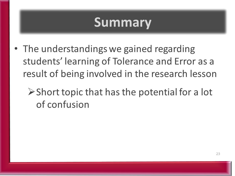 The understandings we gained regarding students' learning of Tolerance and Error as a result of being involved in the research lesson 23  Short topic that has the potential for a lot of confusion