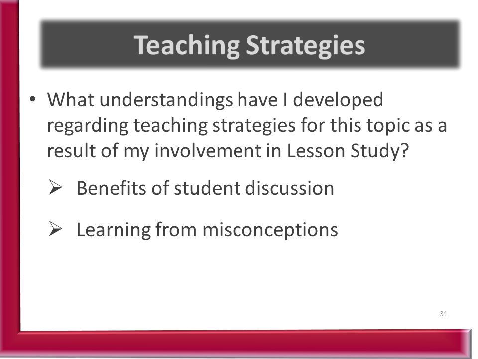 What understandings have I developed regarding teaching strategies for this topic as a result of my involvement in Lesson Study.
