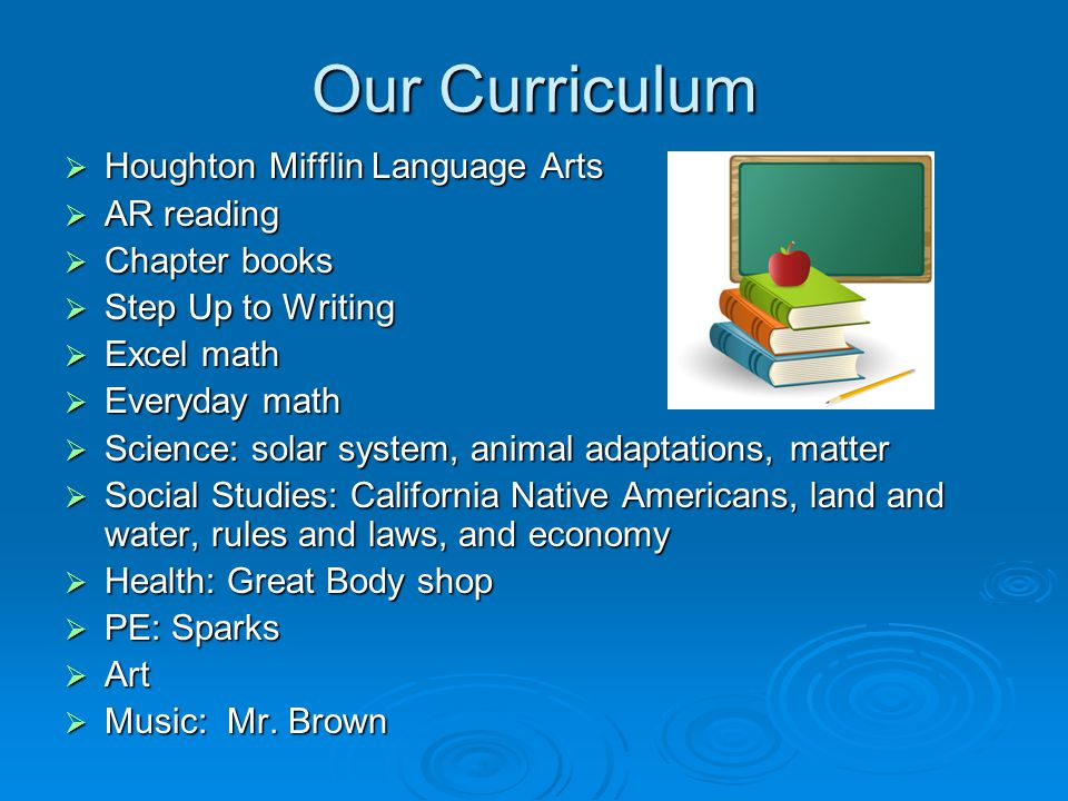 Our Curriculum  Houghton Mifflin Language Arts  AR reading  Chapter books  Step Up to Writing  Excel math  Everyday math  Science: solar system, animal adaptations, matter  Social Studies: California Native Americans, land and water, rules and laws, and economy  Health: Great Body shop  PE: Sparks  Art  Music: Mr.