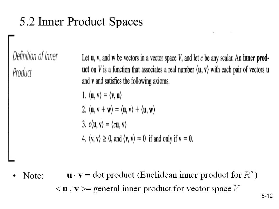 Inner Product Spaces Note: