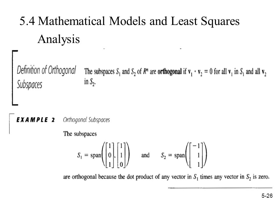 Mathematical Models and Least Squares Analysis