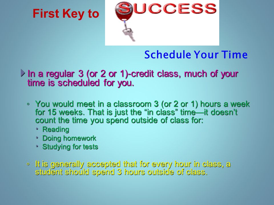  In a regular 3 (or 2 or 1)-credit class, much of your time is scheduled for you.