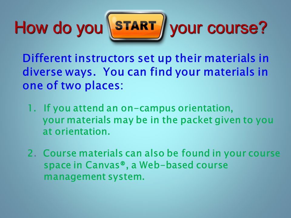 How do you your course. Different instructors set up their materials in diverse ways.