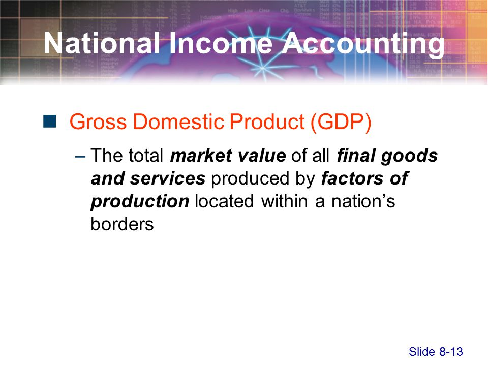 Slide 8-13 National Income Accounting Gross Domestic Product (GDP) –The total market value of all final goods and services produced by factors of production located within a nation's borders