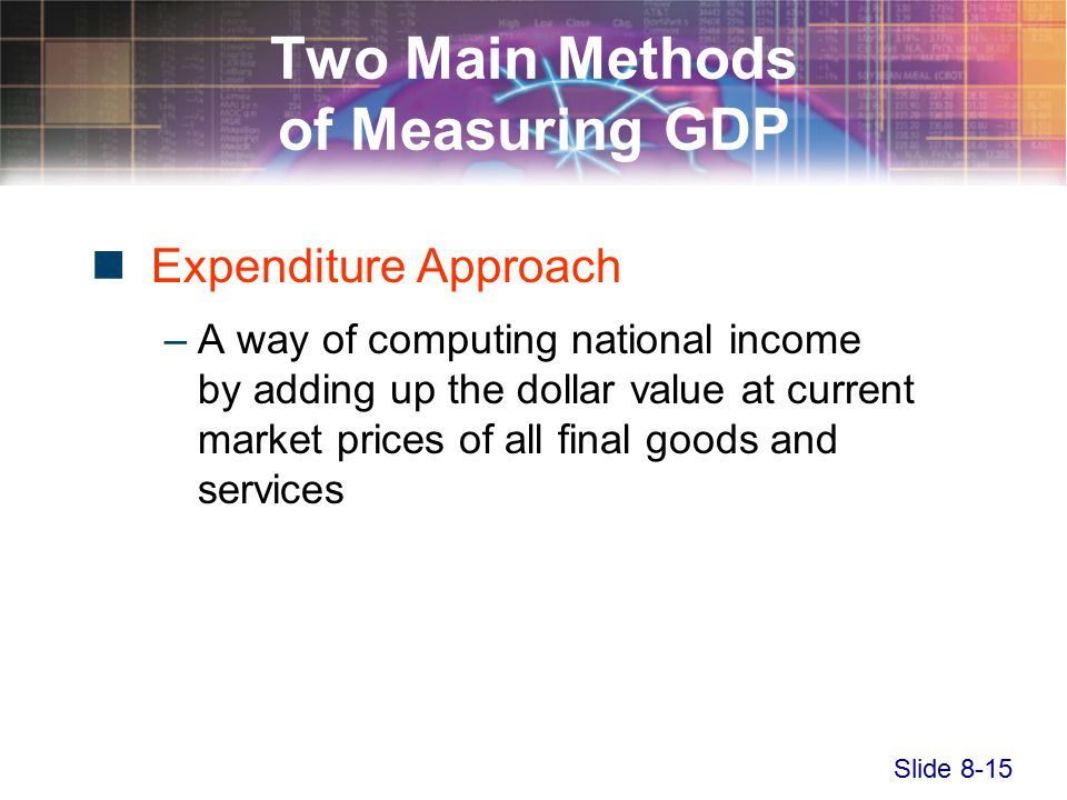 Slide 8-15 Two Main Methods of Measuring GDP Expenditure Approach –A way of computing national income by adding up the dollar value at current market prices of all final goods and services
