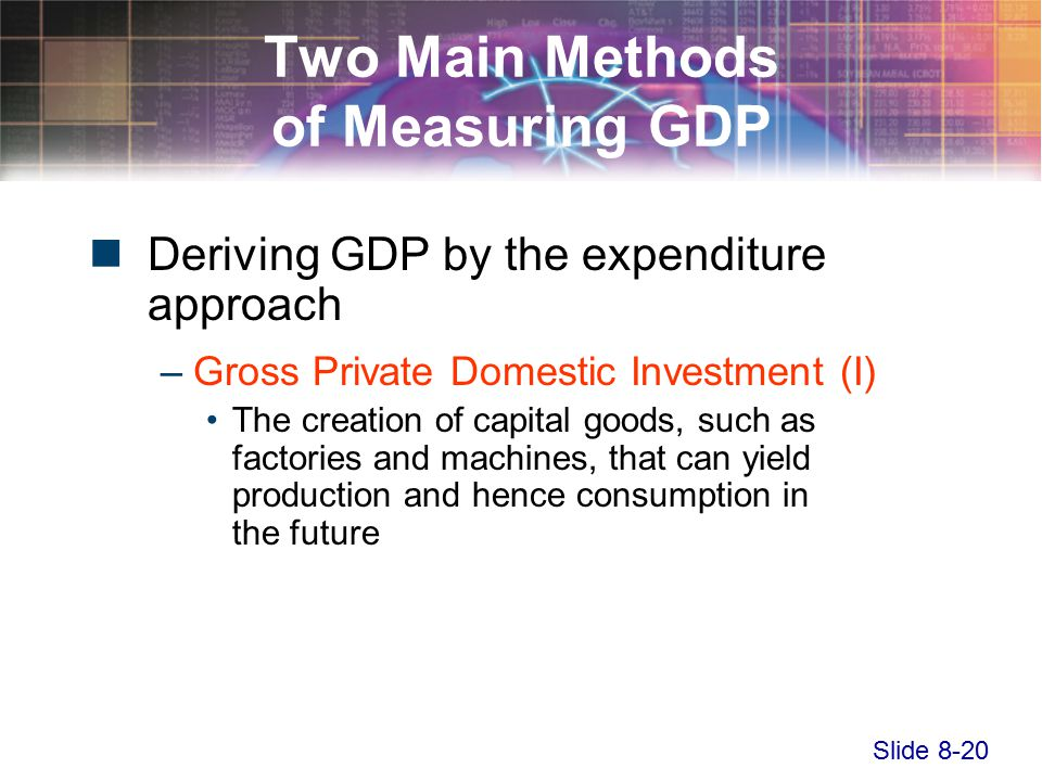 Slide 8-20 Two Main Methods of Measuring GDP Deriving GDP by the expenditure approach –Gross Private Domestic Investment (I) The creation of capital goods, such as factories and machines, that can yield production and hence consumption in the future
