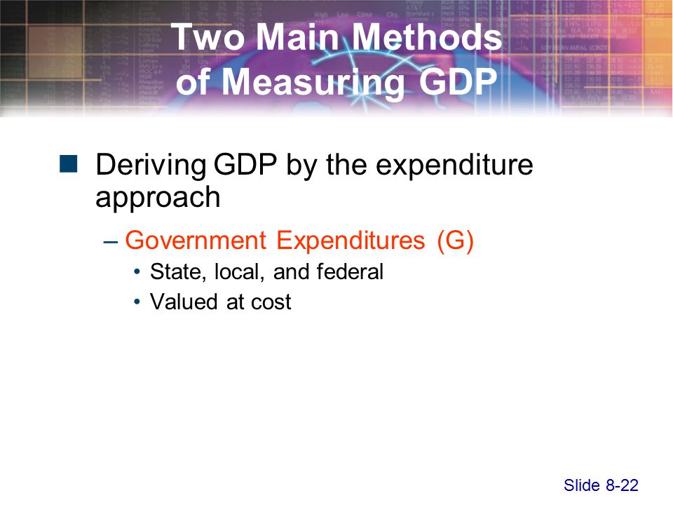 Slide 8-22 Two Main Methods of Measuring GDP Deriving GDP by the expenditure approach –Government Expenditures (G) State, local, and federal Valued at cost