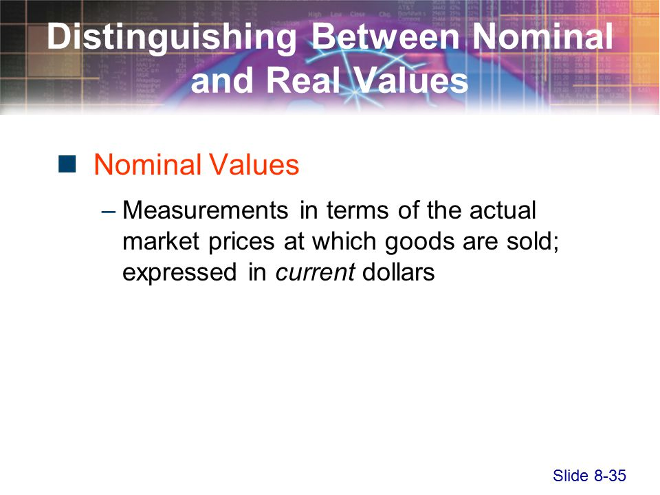 Slide 8-35 Distinguishing Between Nominal and Real Values Nominal Values –Measurements in terms of the actual market prices at which goods are sold; expressed in current dollars