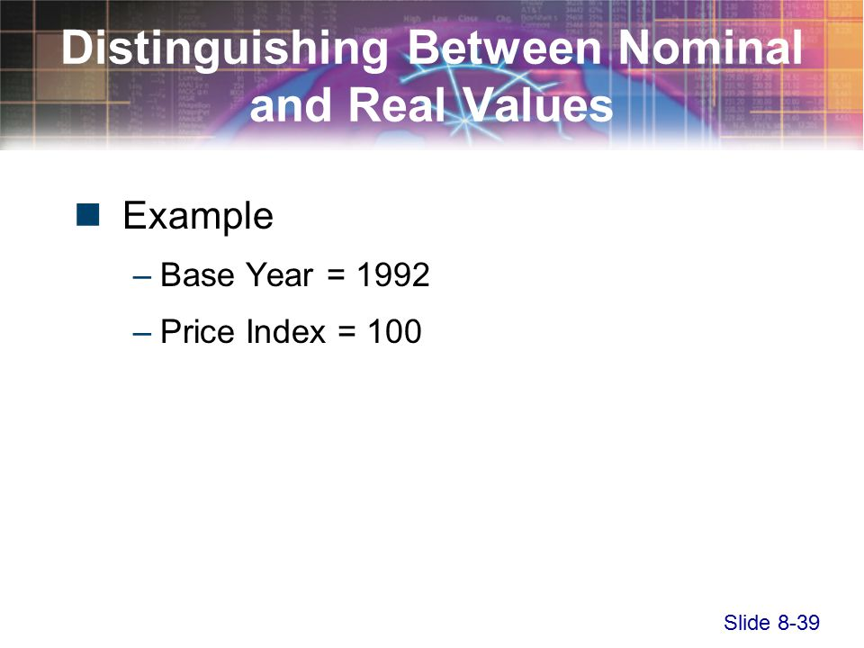 Slide 8-39 Distinguishing Between Nominal and Real Values Example –Base Year = 1992 –Price Index = 100