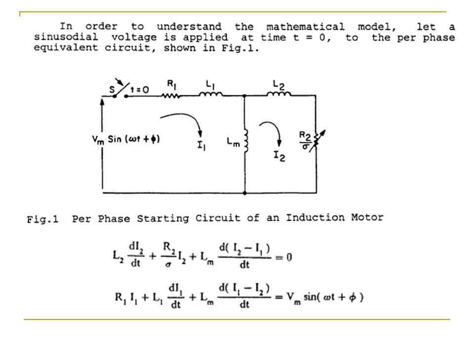 Induction Motor Transients Papers on the Induction Motor Transients on