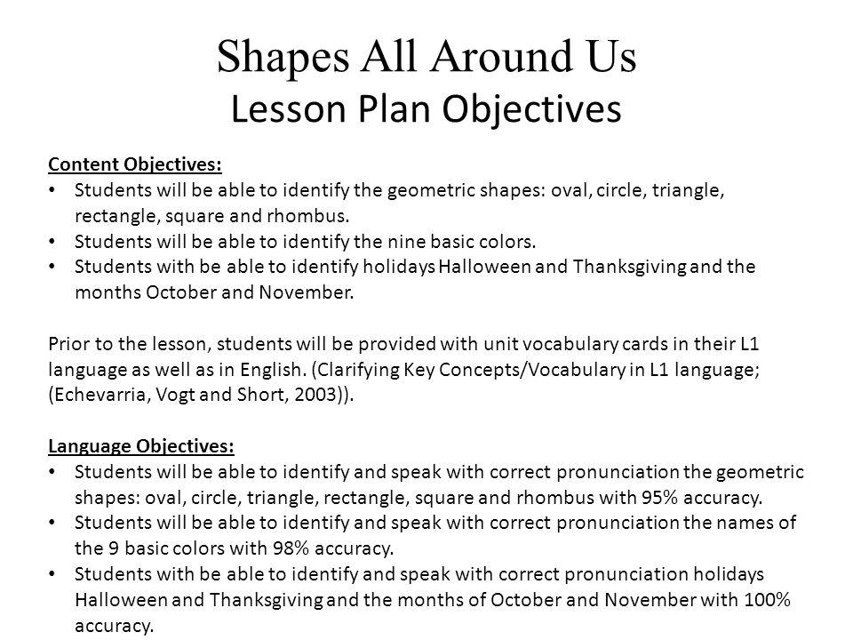Shapes All Around Us Language Vocabulary Building Grade