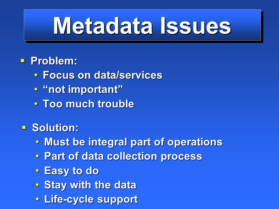 Metadata Issues  Problem: Focus on data/servicesFocus on data/services not important not important Too much troubleToo much trouble  Solution: Must be integral part of operations Part of data collection process Easy to do Stay with the data Life-cycle support