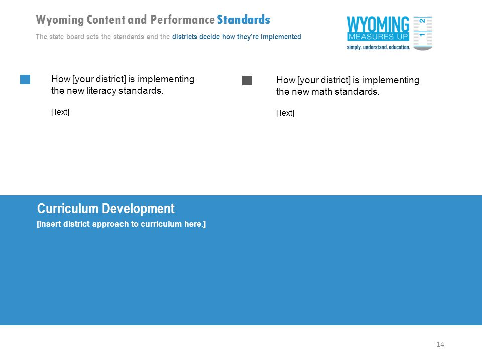 14 Wyoming Content and Performance Standards The state board sets the standards and the districts decide how they're implemented Curriculum Development [Insert district approach to curriculum here.] How [your district] is implementing the new math standards.