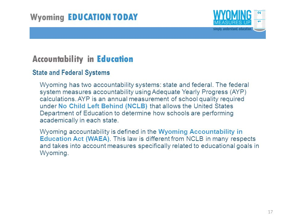 Accountability in Education State and Federal Systems Wyoming has two accountability systems: state and federal.