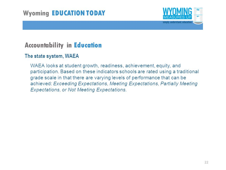 Accountability in Education The state system, WAEA WAEA looks at student growth, readiness, achievement, equity, and participation.
