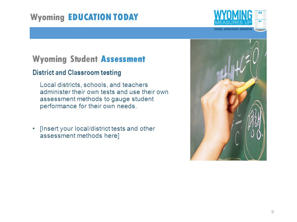 Wyoming Student Assessment District and Classroom testing Local districts, schools, and teachers administer their own tests and use their own assessment methods to gauge student performance for their own needs.
