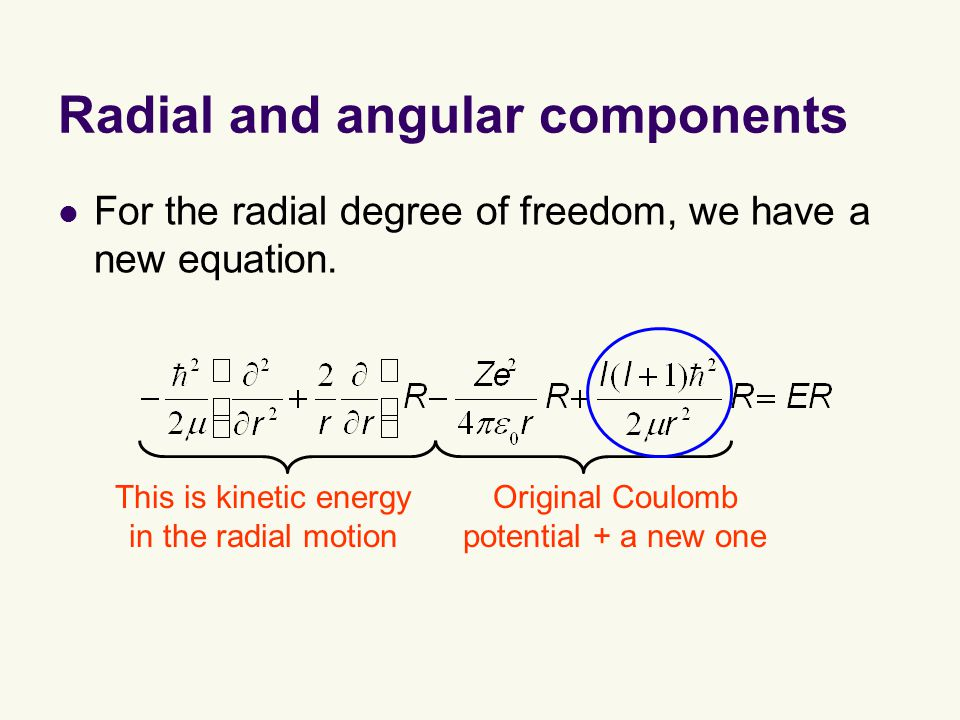 Radial and angular components For the radial degree of freedom, we have a new equation.