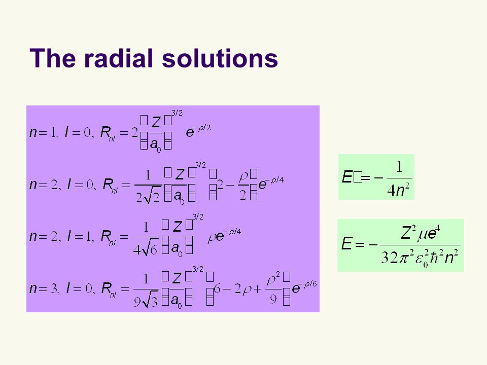 The radial solutions