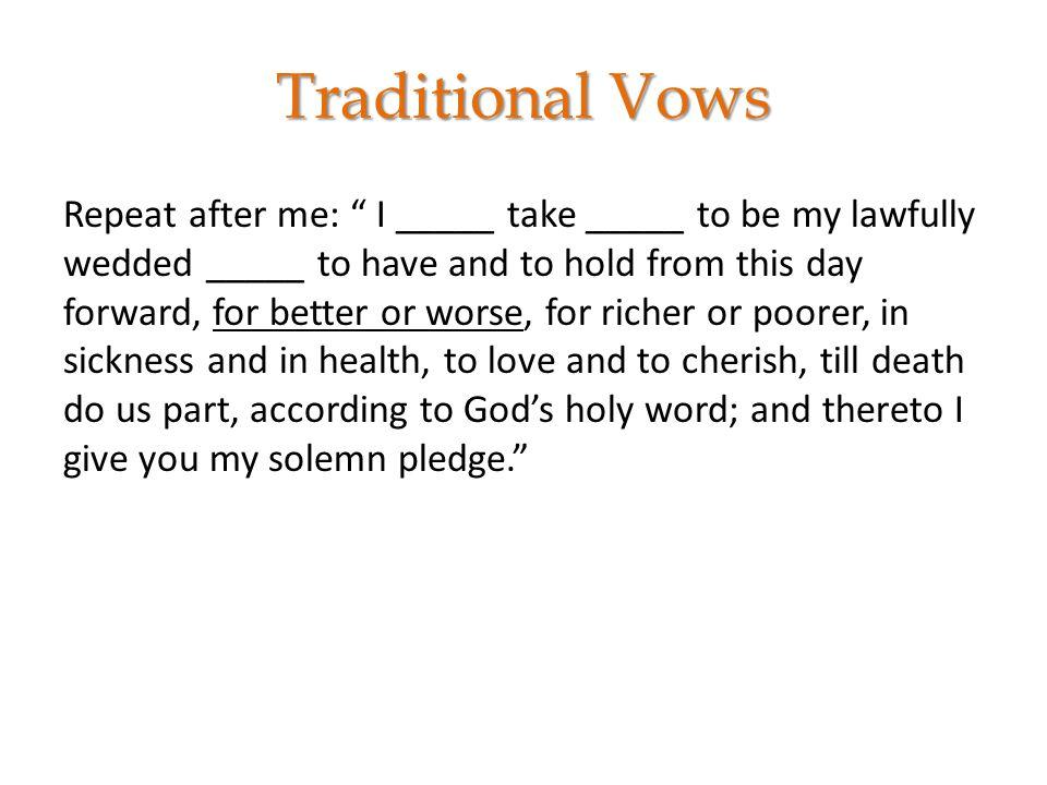 Marriage vows till death do us part