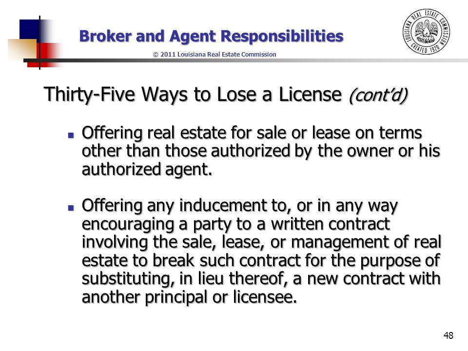 Broker And Agent Responsibilities 2011 Louisiana Real Estate