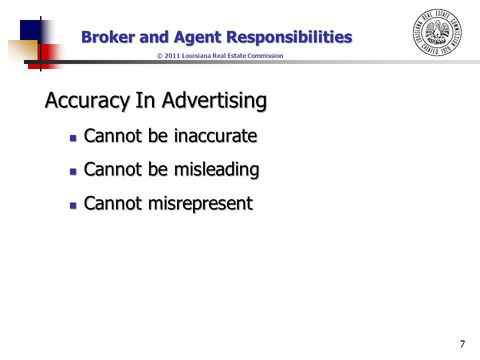 Broker and Agent Responsibilities © 2011 Louisiana Real Estate Commission 1 Lesson 2 Louisiana Law and Regulations - Part II. - ppt download - 웹