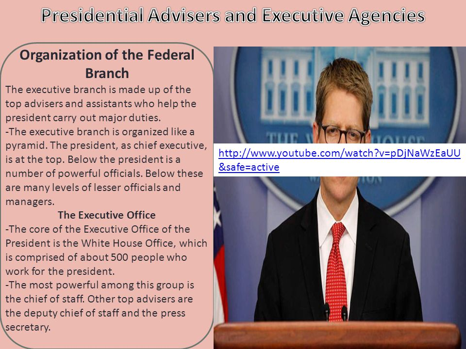 Section 4 I can explain the presidential advisors I can describe the executive agencies