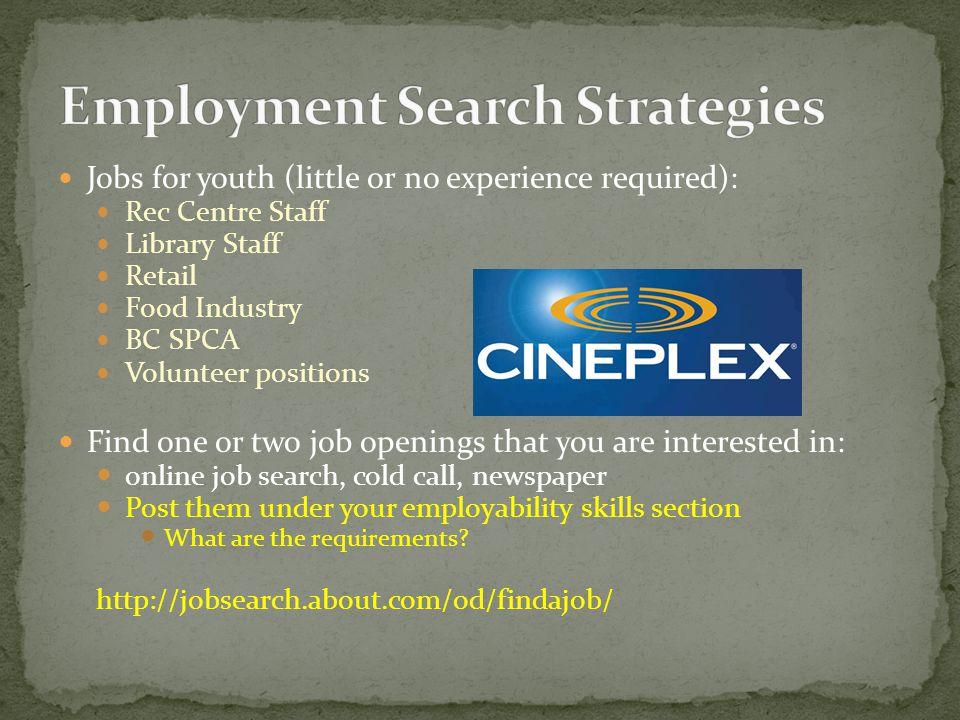 A Employability Skills B Job Seeking Skills Job Search Resume
