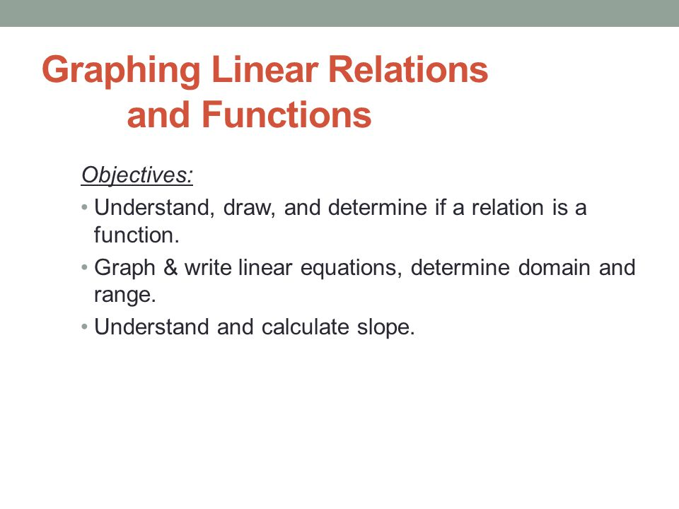 Graphing Linear Relations And Functions Objectives Understand Draw