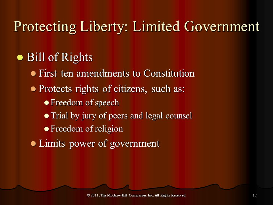 Bill of Rights Bill of Rights First ten amendments to Constitution First ten amendments to Constitution Protects rights of citizens, such as: Protects rights of citizens, such as: Freedom of speech Freedom of speech Trial by jury of peers and legal counsel Trial by jury of peers and legal counsel Freedom of religion Freedom of religion Limits power of government Limits power of government © 2011, The McGraw-Hill Companies, Inc.