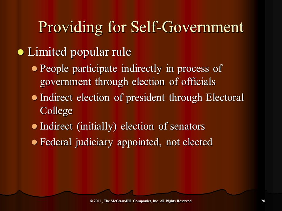 Providing for Self-Government Limited popular rule Limited popular rule People participate indirectly in process of government through election of officials People participate indirectly in process of government through election of officials Indirect election of president through Electoral College Indirect election of president through Electoral College Indirect (initially) election of senators Indirect (initially) election of senators Federal judiciary appointed, not elected Federal judiciary appointed, not elected © 2011, The McGraw-Hill Companies, Inc.