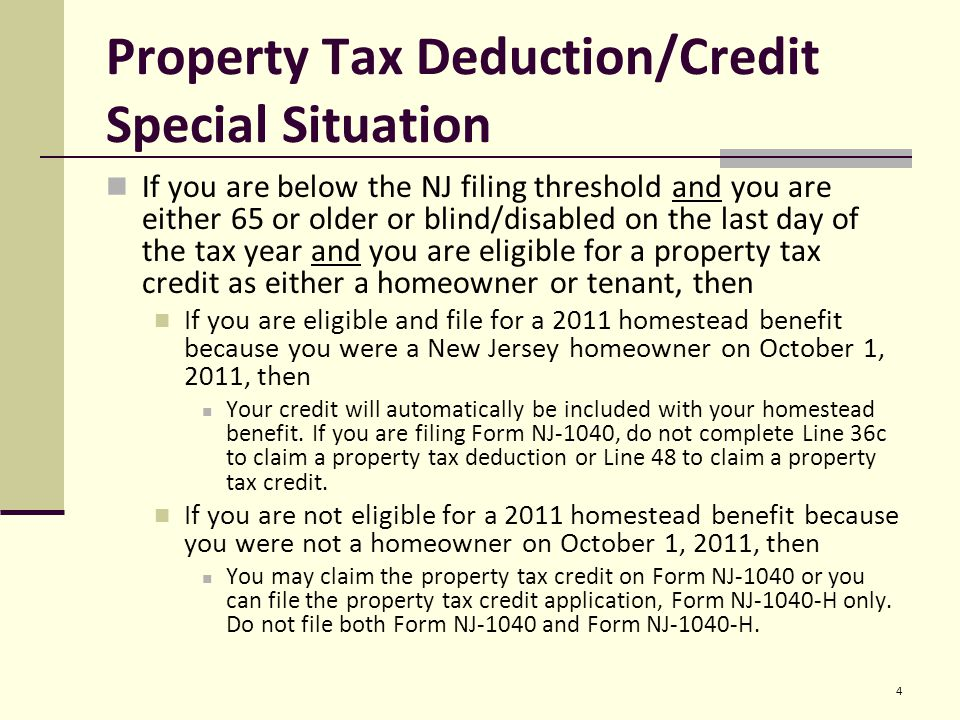Property Tax Deductioncredit Eligibility Requirements All The