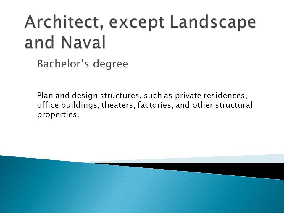Bachelor's degree Plan and design structures, such as private residences, office buildings, theaters, factories, and other structural properties.