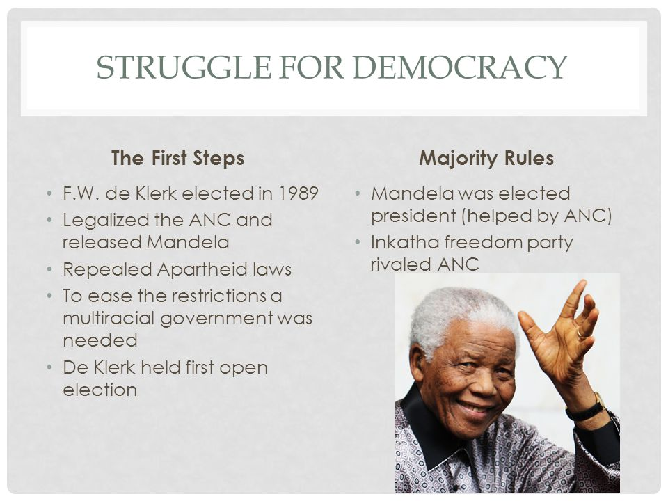 STRUGGLE FOR DEMOCRACY The First Steps F.W.