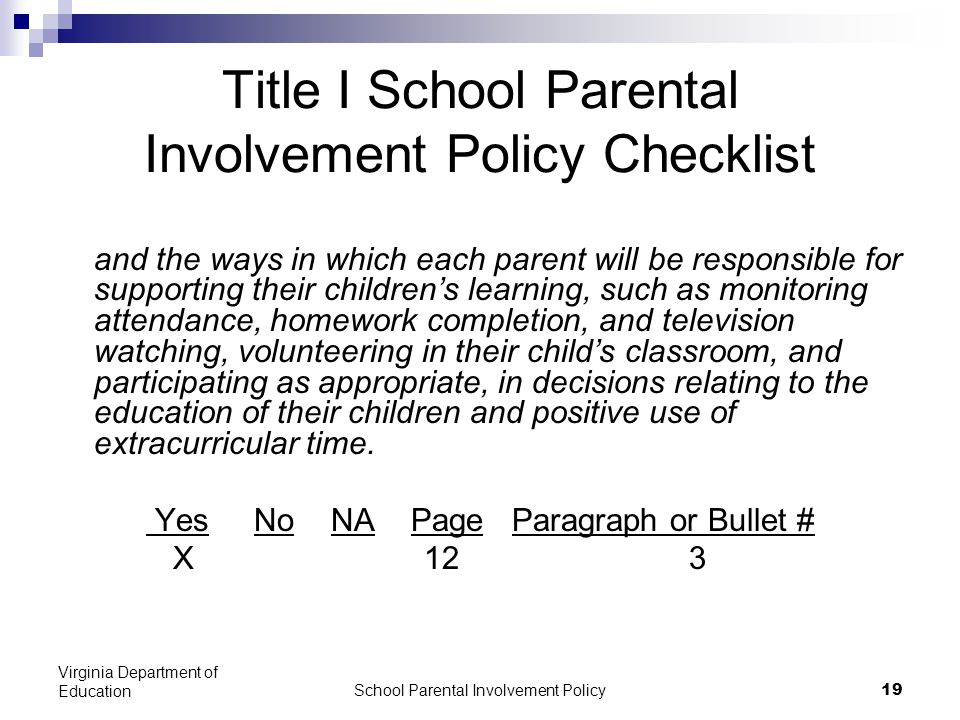 School Parental Involvement Policy 19 Virginia Department of Education Title I School Parental Involvement Policy Checklist and the ways in which each parent will be responsible for supporting their children's learning, such as monitoring attendance, homework completion, and television watching, volunteering in their child's classroom, and participating as appropriate, in decisions relating to the education of their children and positive use of extracurricular time.
