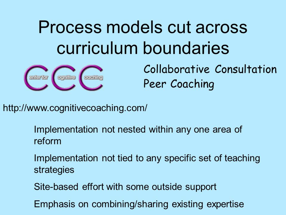 Process models cut across curriculum boundaries Collaborative Consultation Peer Coaching Implementation not nested within any one area of reform Implementation not tied to any specific set of teaching strategies Site-based effort with some outside support Emphasis on combining/sharing existing expertise