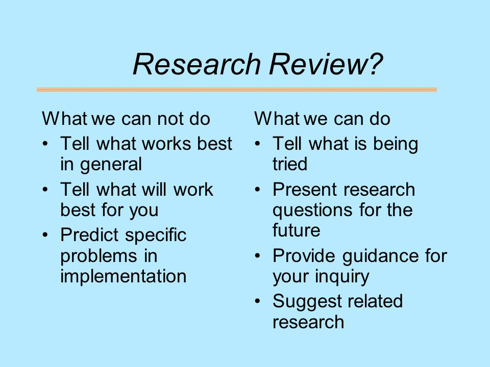 Research Review.