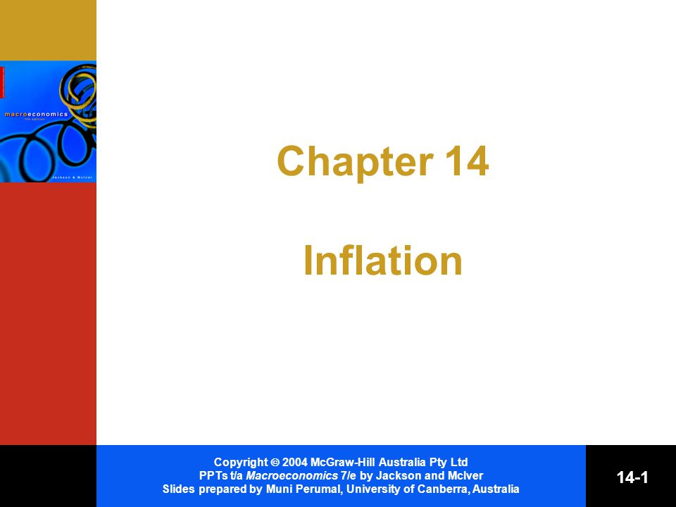 Copyright  2004 McGraw-Hill Australia Pty Ltd PPTs t/a Macroeconomics 7/e by Jackson and McIver Slides prepared by Muni Perumal, University of Canberra, Australia 14-1 Chapter 14 Inflation